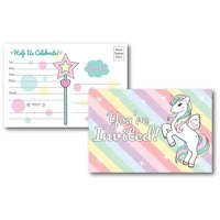 25 Fill in Unicorn Rainbow Party Invitations Postcards, Unicorn Birthday Party Decorations, Baby Shower Invitations, Bridal Shower Invite for Any Occasion, Baby's First Birthday, for Kids & Women
