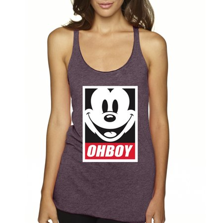 New Way 416 - Women's Tank-Top Oh Boy Mickey Mouse Face Anonymous Dope Large Vintage Purple