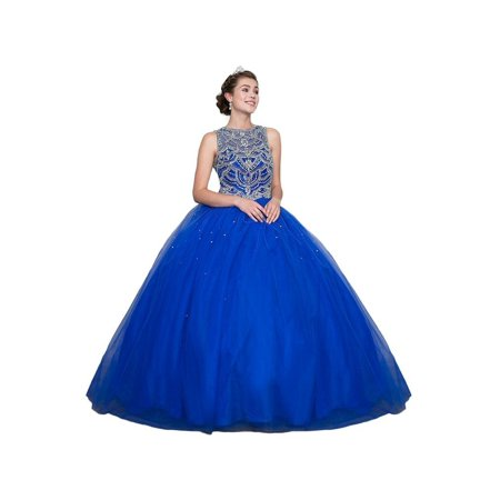 Calla Collection Womens Royal Blue Rhinestone Quinceanera Ball (Quinceanera Dresses)
