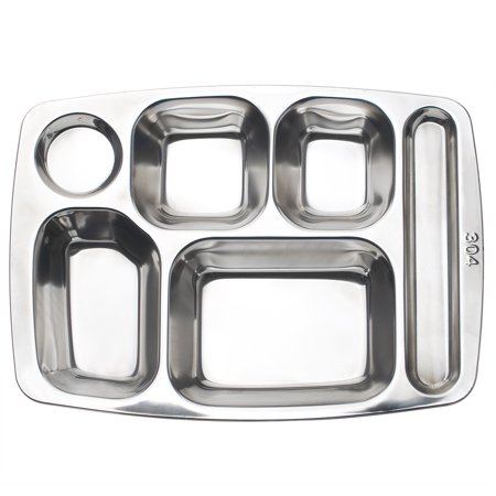 Aspire Dinner Plate For Cafeteria, 304 Stainless Steel Divided Tray, 1 Pc-6 Sections ()