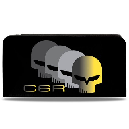 C6 Racing W Skull Repeat Black Yellow Silver Canvas Snap Wallet  One Size