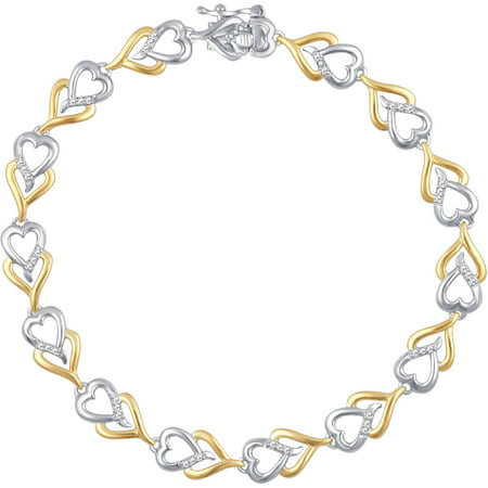 Diamond Accent Two Tone Brass Double Heart Bracelet 7.5""