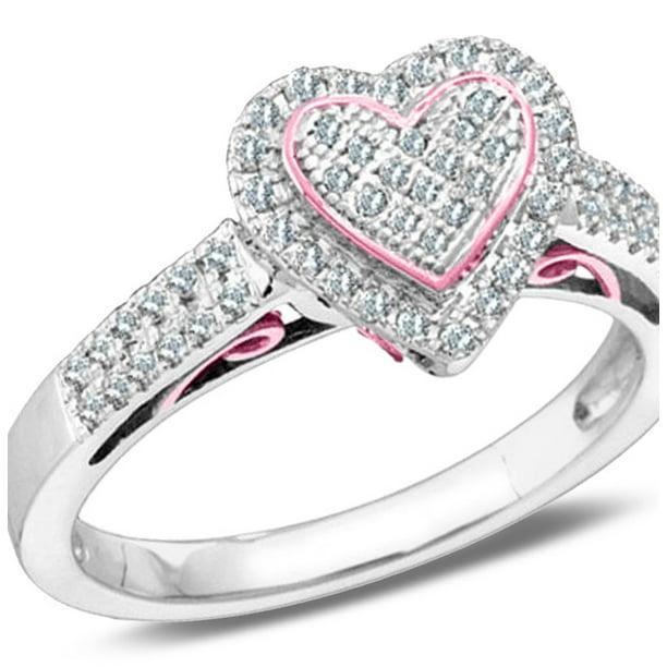 Diamond Heart Promise Ring 1/3 Carat (ctw Color J-K, I2-I3)...