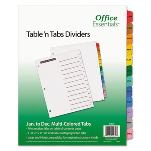 Office Essentials Table 'N Tabs Dividers, Months, Letter, 1 Set (AVE11679),2PK