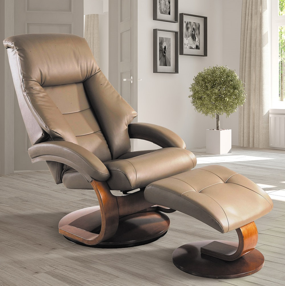 Oslo Collection by Mac Motion Mandal Recliner and Ottoman in Sand Top Grain Leather by Mac Motion