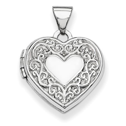 14k White Gold Heart Locket by Jewelrypot