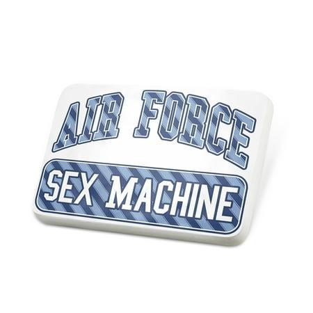 Porcelein Pin Air Force Sex Machine, Blue stripes Lapel Badge – NEONBLOND