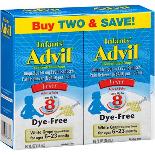 Advil Children's Fever Ibuprofen Liquid Suspension, Grape .5 oz, Twin Pack Each