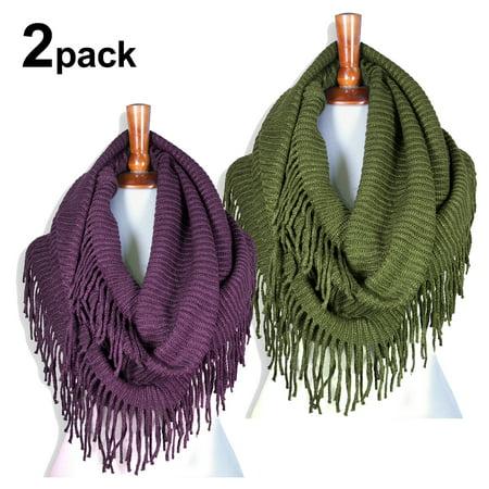 Knit Lace Shawls - Basico Women Winter Warm Knit Infinity fringe Scarf Tassels Soft Shawl (2pack)