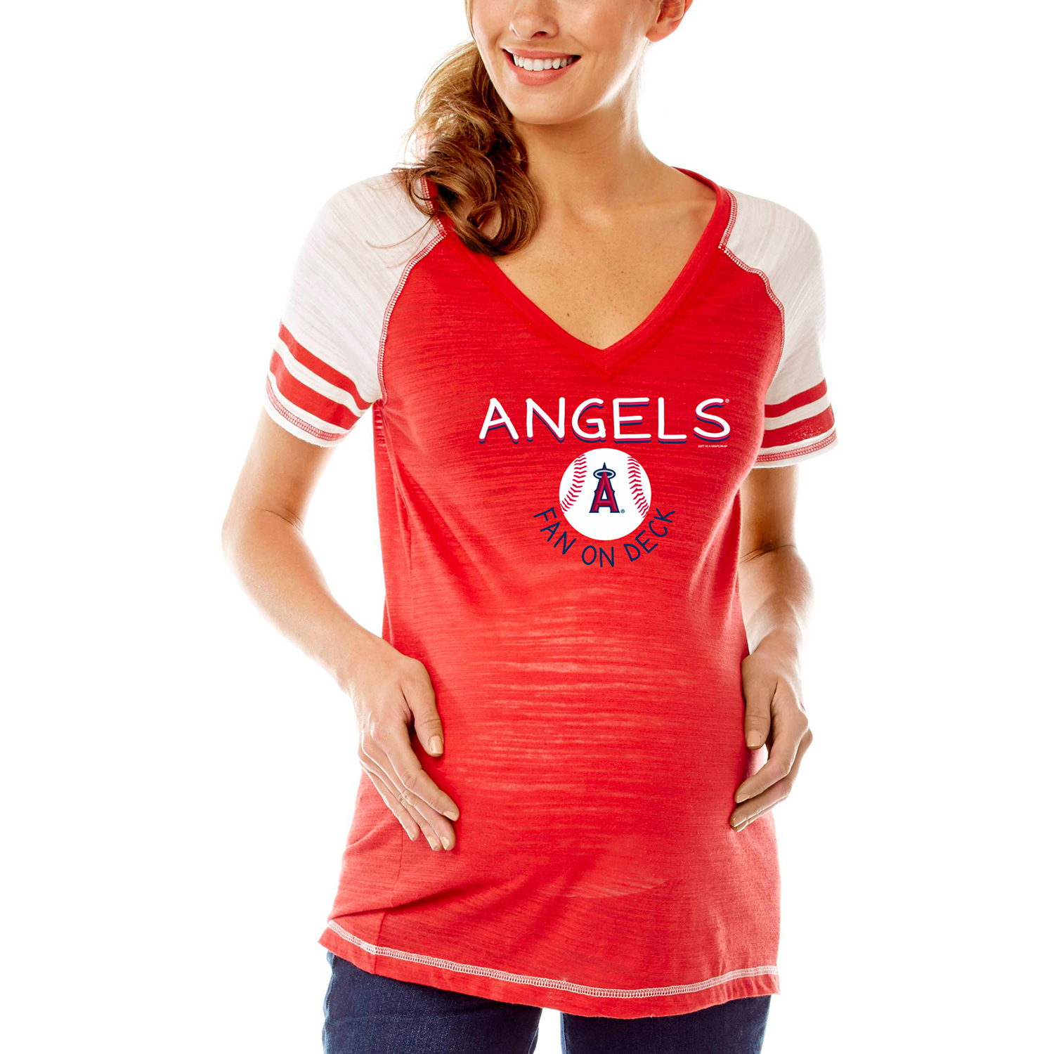 Los Angeles Angels Soft As A Grape Women's Maternity Leadoff Hitter Tri-Blend V-Neck Raglan Sleeve T-Shirt - Red