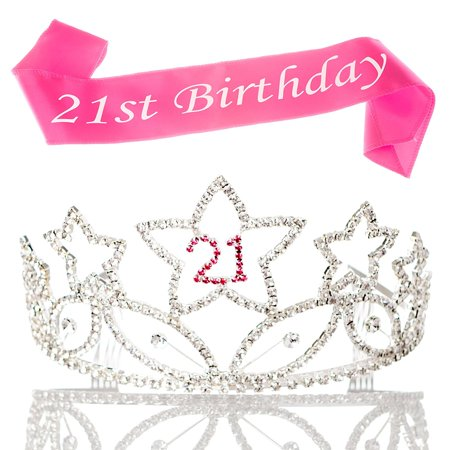 21 Tiara and Sash 21st Birthday Party Supplies Accessories, Silver Pink Set (Tiara and Sash)](Birthday Sash And Tiara)