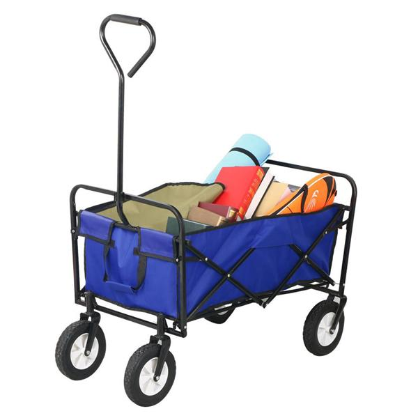 Yaheetech Folding Wagon Utility Garden Cart Beach Shopping Wagon (Blue)