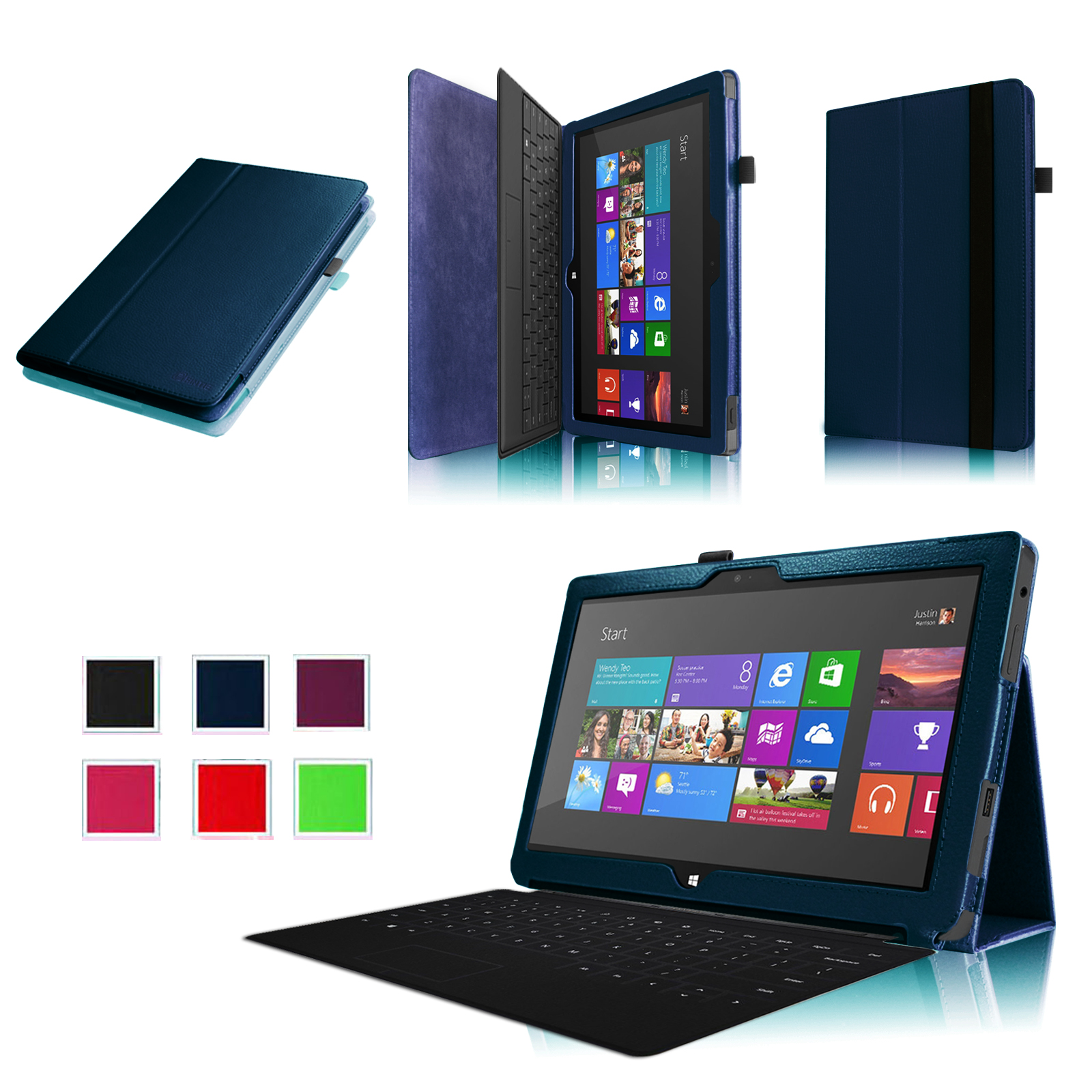 Fintie Microsoft Surface RT / Surface 2 10.6 inch Tablet Folio Case - Slim Fit PU Leather Stand Cover, Navy