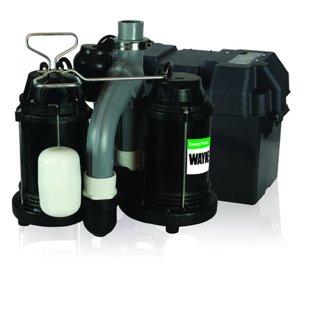 WAYNE WSS30V Combination 1/2 HP and 12-Volt Combination Sump System Backup Sump Pump System