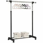 Adjustable Rolling Garment Rack with Wheels,Hanging Clothing Garment Rack,Storage Shelf