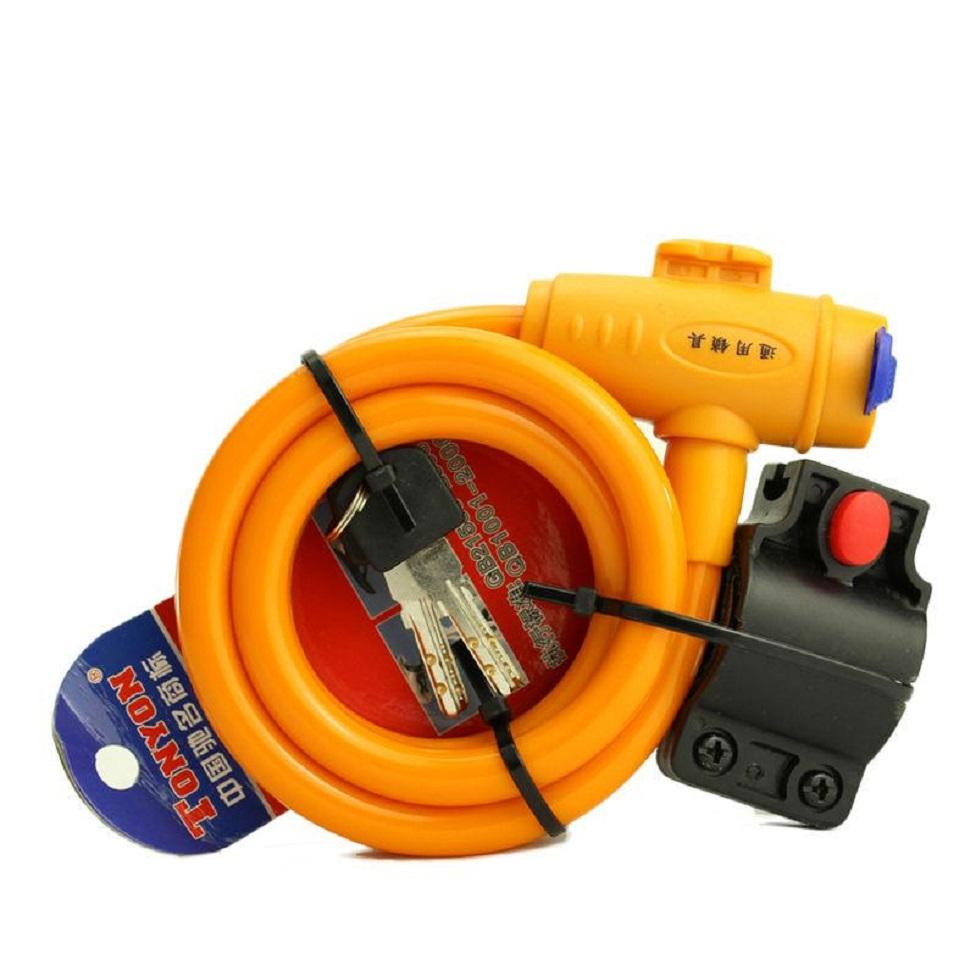 Steel Wire Bicycle Security Lock - Orange