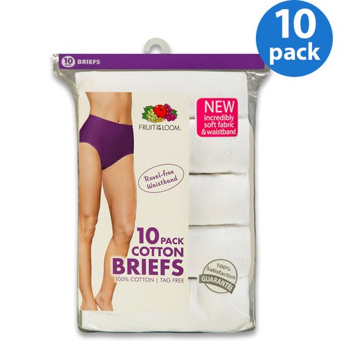 Fruit of the Loom Ladies' 10pk Cotton White Briefs