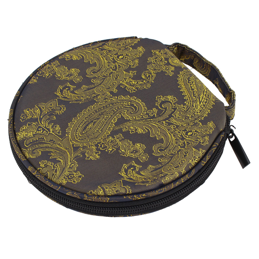 Embroidery Printed 20 DVD CD Discs Holder Bag Zippered Round Case Gold Tone