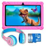 Contixo 7 inch Kids Learning Tablet Bundle - 16GB Storage, Bluetooth, Android, Dual Cameras, Parental Control, Kids Bluetooth Headphone & 32GB microSD Card, TC-V82-KB-PNK