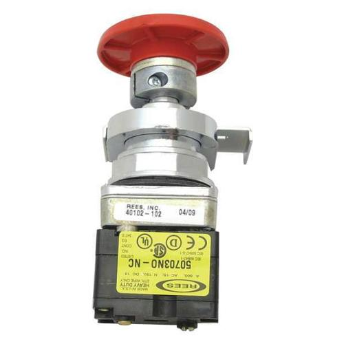 REES 40102-102 Emergency Stop Push Button,Delrin,Red G9999403