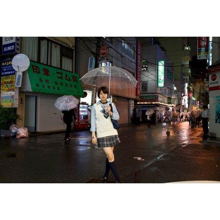 LAMINATED POSTER Female Woman Tokyo Umbrella Model Rain City Girl Poster Print 24 x 36