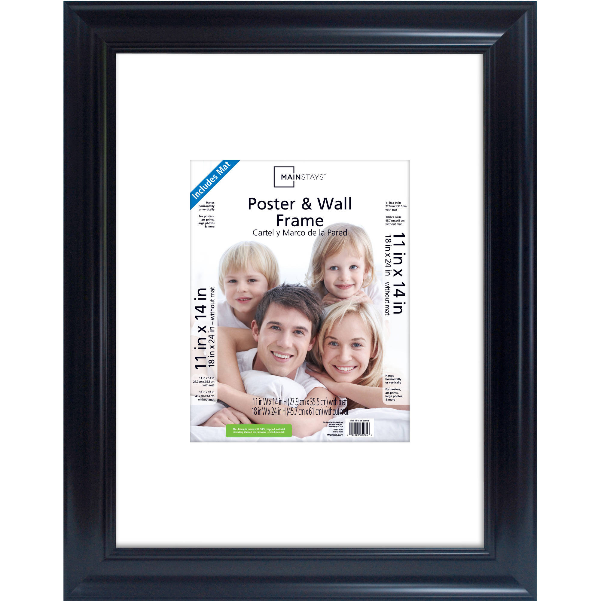 """Mainstays 18"""" x 24"""" Wide Gallery Poster and Picture Frame, Black Finish"""