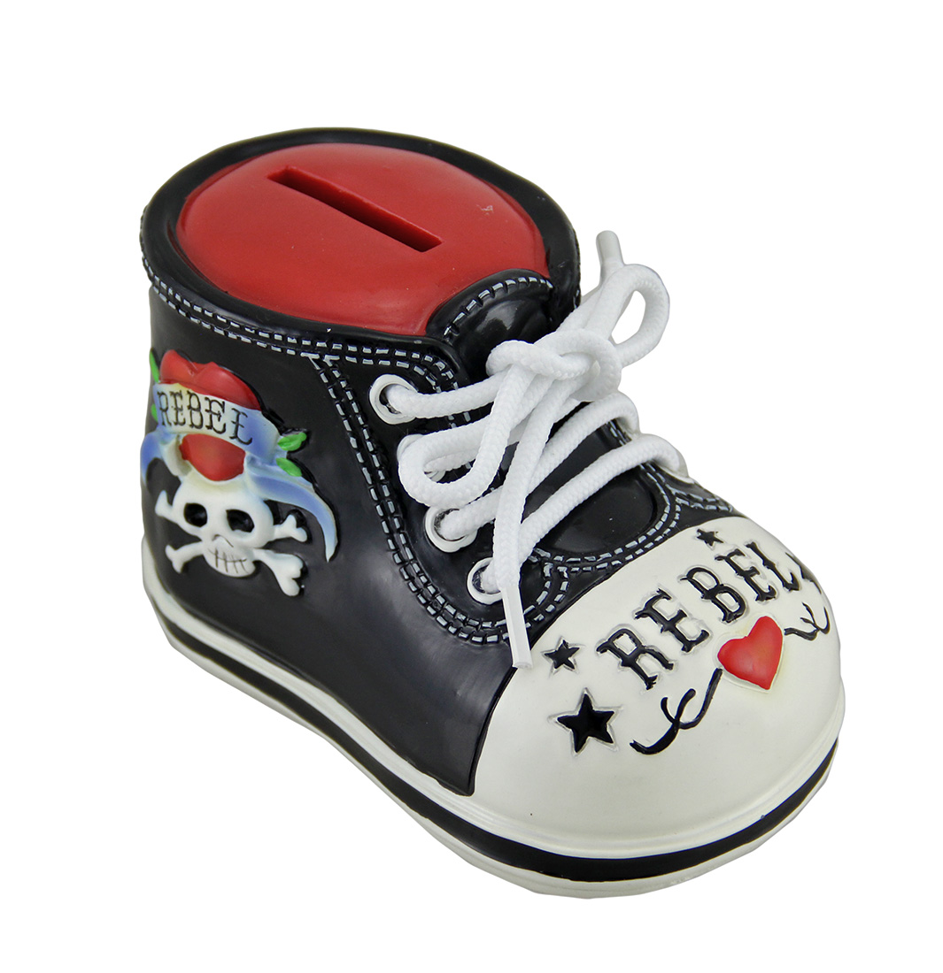 Rockabilly Rebel Tattoo Skull Baby Bootie Shoe Money Bank
