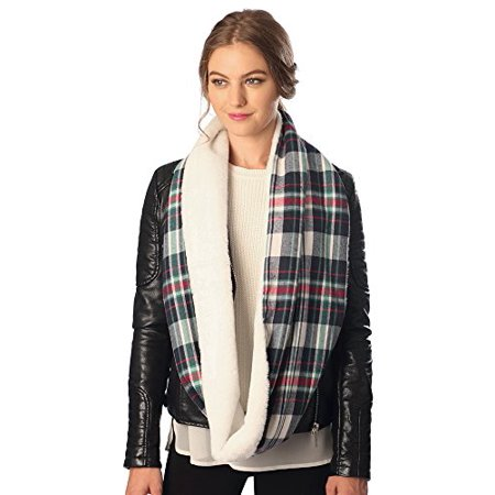 Sassy Scarves Womens Plaid Infinity Scarf with Faux Fur Lining (Green) ()