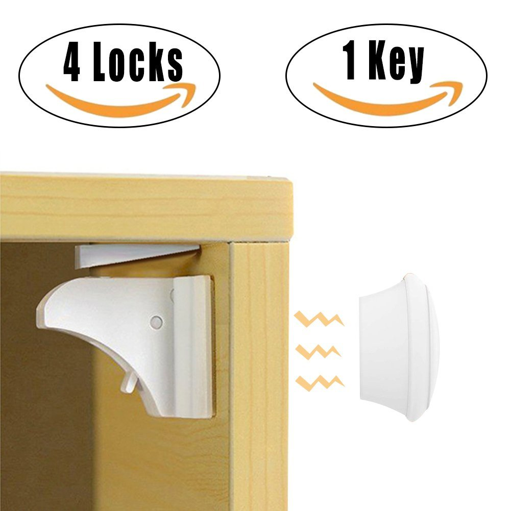 CJRSLRB Baby Safety Magnetic Cabinet Locks ?4 Locks & 1 Key?- No Screws or Drilling by CJRSLRB
