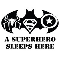 "DIY Stick And Peel Batman Superman Spider-Man And Captain America Symbol Kids Bedroom Decor Home Decoration Sticker |14"" x 20"" Vinyl Adhesive Superhero Den Quotes Wall Decal - A Superhero Sleeps Here"