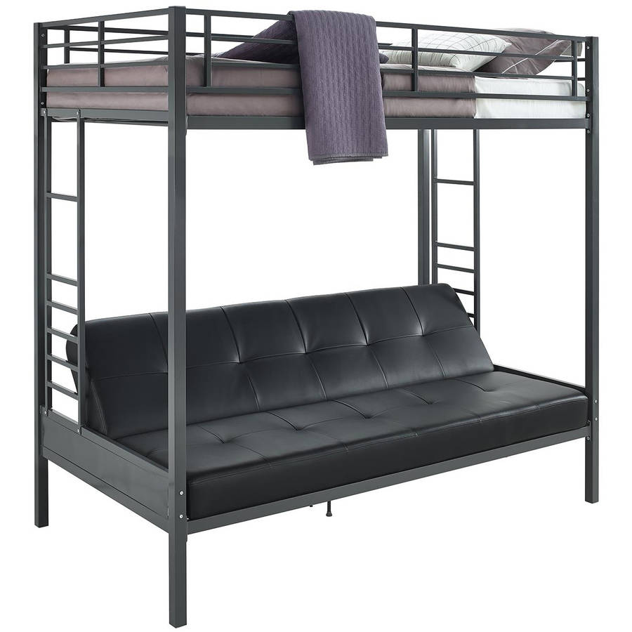 DHP Jasper Premium Twin Over Futon Bunk Bed with Black Faux