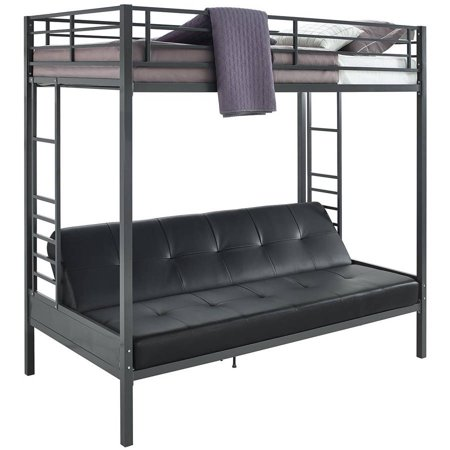 Dhp Jasper Premium Twin Over Futon Bunk Bed With Black Faux Leather