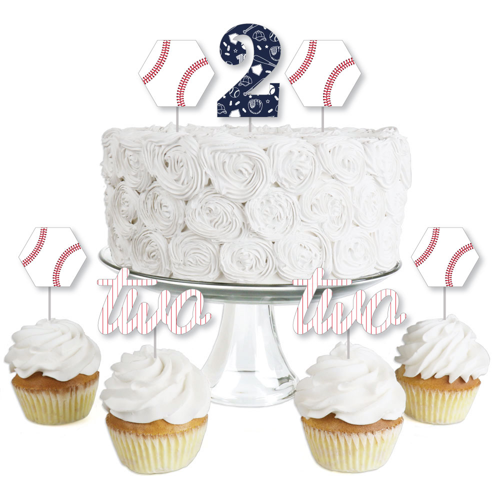 2nd Birthday Batter Up - Baseball - Dessert Cupcake Toppers - Second Birthday Party Clear Treat Picks - Set of 24