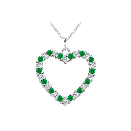 Fine Jewelry Vault UBPDH212W14DE Green Emerald and Diamond Heart Pendant in White Gold 14K Total Gem Weight of 0.75 - Pkg Emerald Green