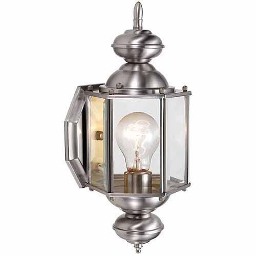 "Design House 514869 Augusta Outdoor Uplight, 5.5"" x 14.375"", Satin Nickel Finish"