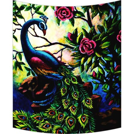 - GCKG Artistic Paintings Graceful Peacock Wall Art Tapestries Home Decor Wall Hanging Tapestry Size 40