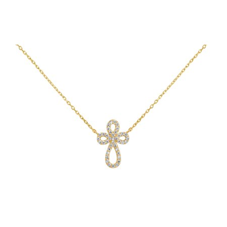 18k Gold Over Sterling Silver White Cubic Zirconia Swirl Cross Necklace 18 Inches