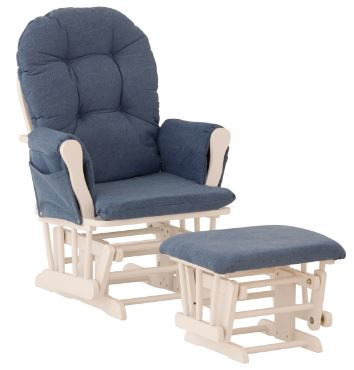 Storkcraft Hoop Glider and Ottoman White with Blue Denim Cushions