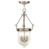 Pendants Porch 3 Light With Hand Crafted Clear Melon Glass Antique Brass size 10 in 180 Watts - World of Crystal