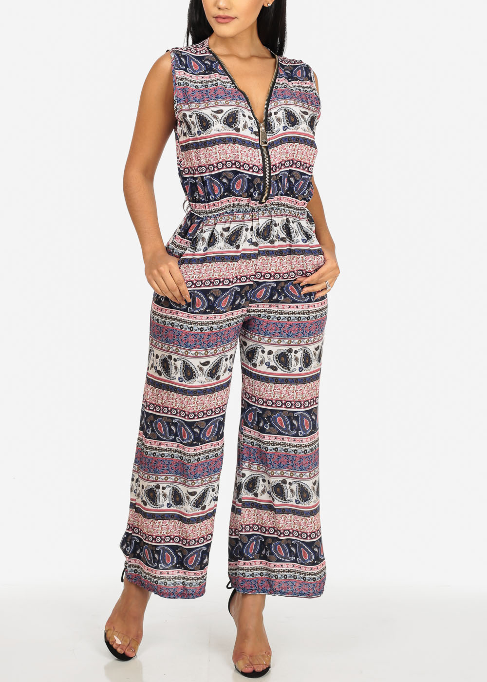 Womens Juniors Navy and Pink Lightweight Printed Front Gold Zipper Jumpsuit 40844I