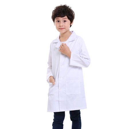 TopTie Kids Scrubs White Lab Coats for Scientists or Doctors-White-5/6 - White Doctor's Coat