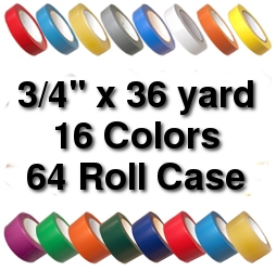 Vinyl Marking Tape 3/4 inch x 36 yard (64 Roll Case) - White