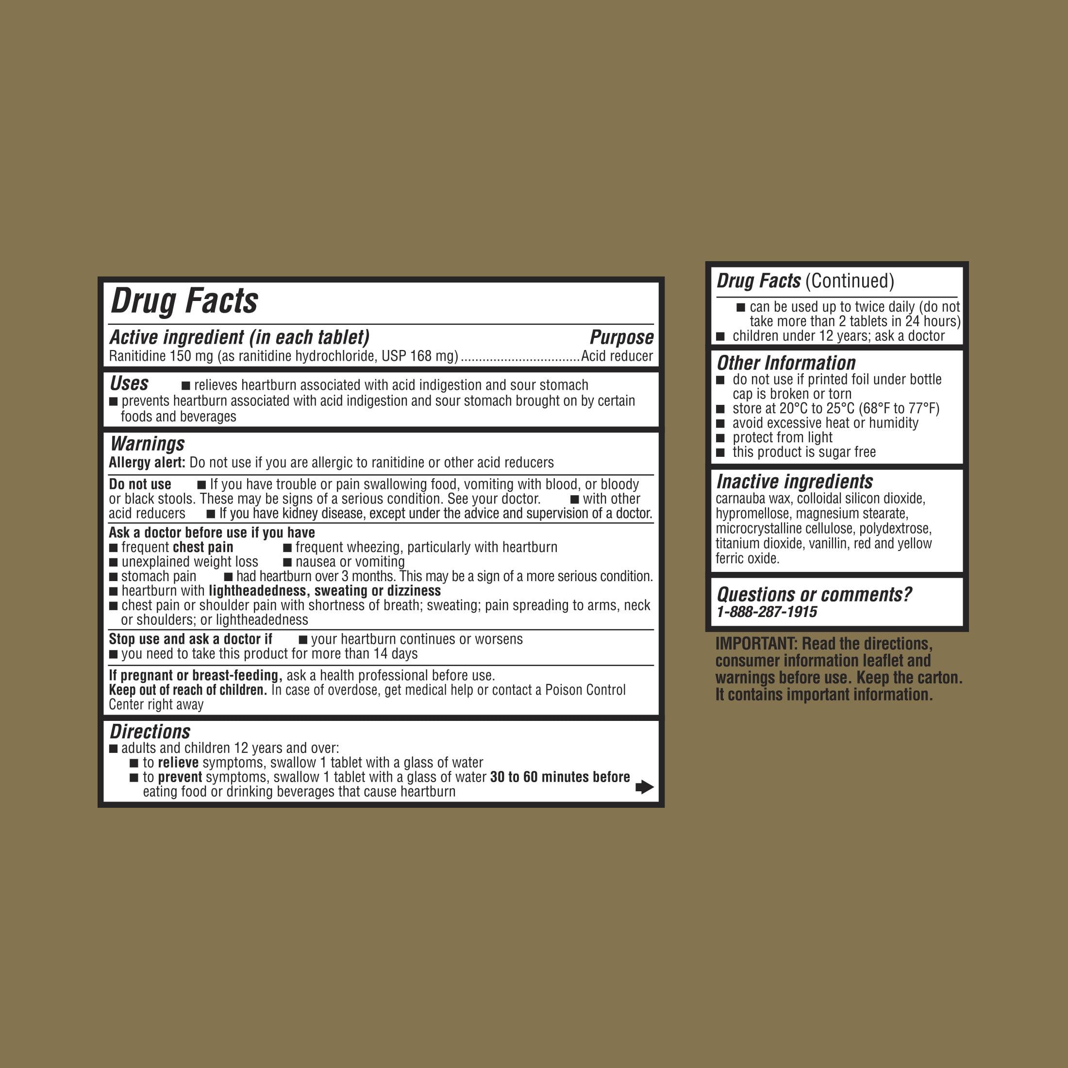 Equate Maximum Strength Acid Reducer Ranitidine Tablets, 150 mg, 220 Ct