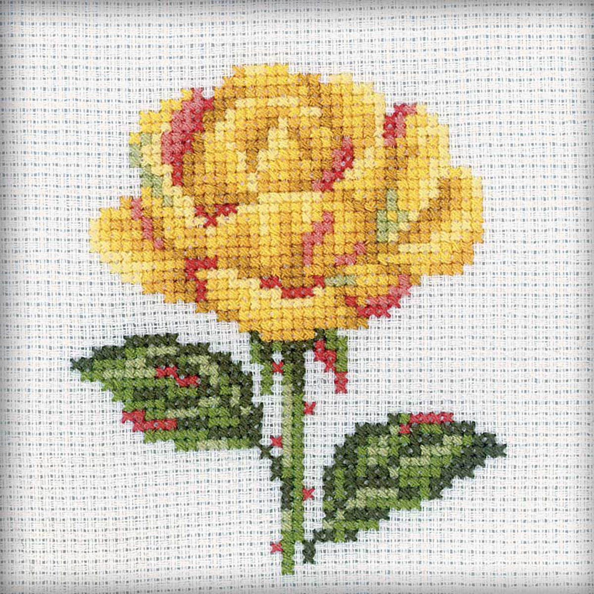 """Yellow Rose Counted Cross Stitch Kit-4""""X4"""" 14 Count"""