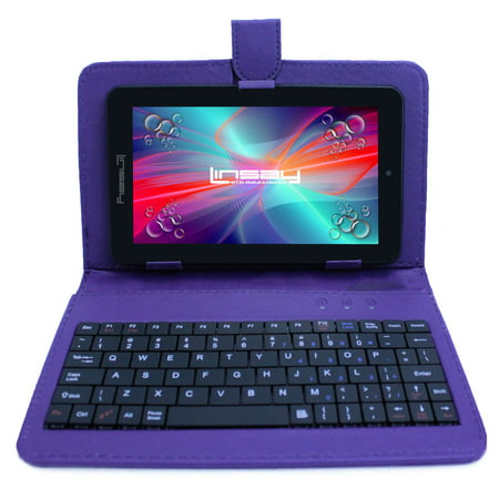 "Image of ""LINSAY 7"""" New Exclusive Tablet Quad Core Bundle with Purple Keyboard Android 6.0 Dual Camera"""