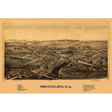 Antique Map of Broadalbin New York 1880 Fulton County Poster Print County New York Antique Map
