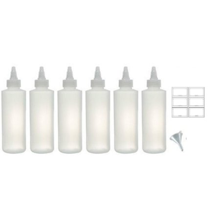Twist Top Spout Natural Clear Refillable Squeeze Plastic (BPA Free) Bottle - 8 oz (6 pack) + Funnel and Labels - Plastic Squeeze Bottles
