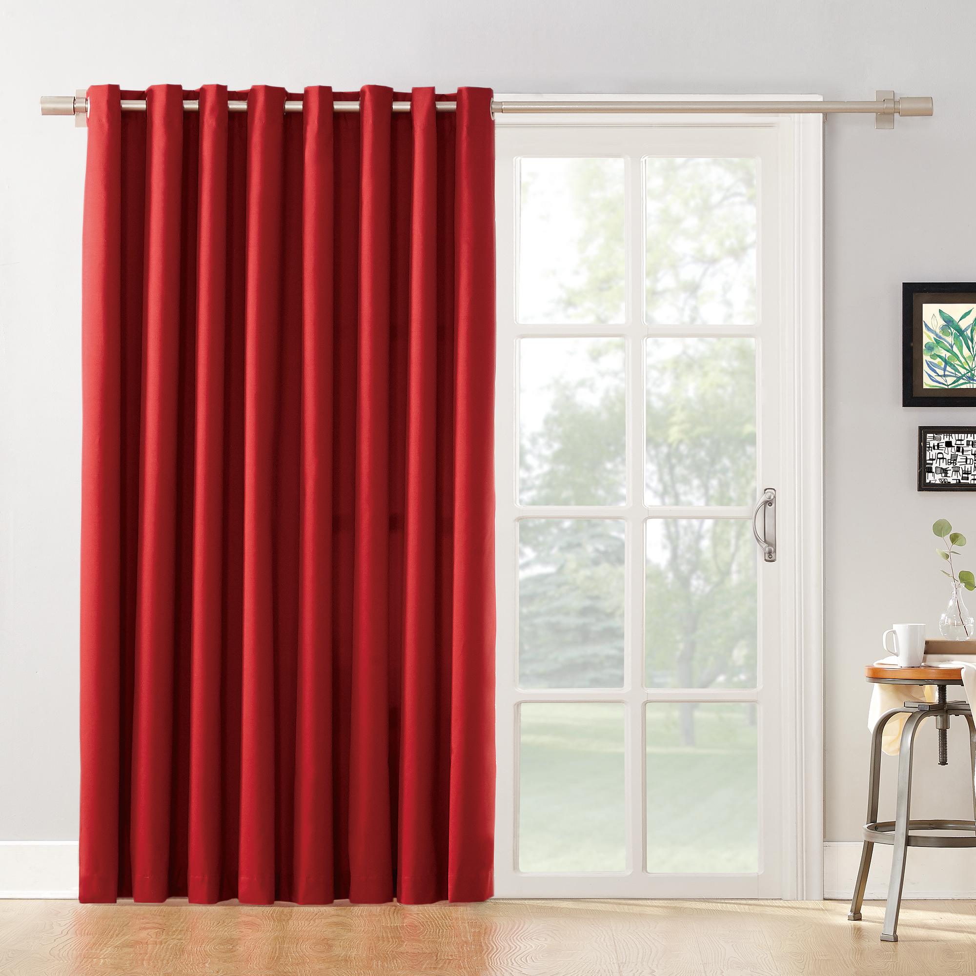 mainstays blackout energy efficient extra wide sliding glass door grommet curtain panel with detachable wand