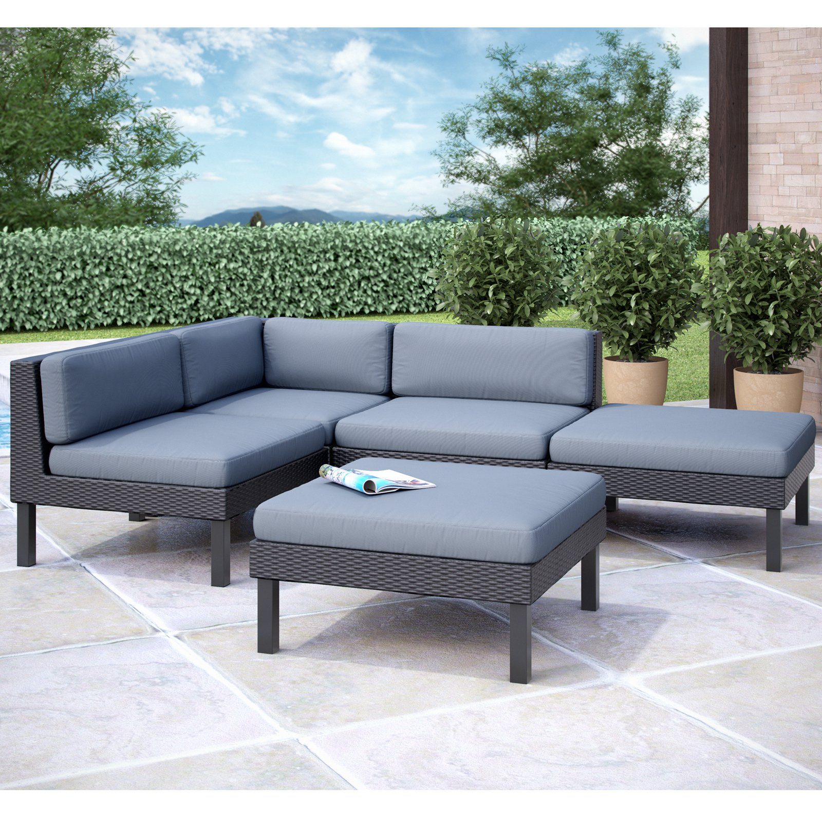 CorLiving Oakland 5pc Sectional Patio Set, Dove Grey Cushions