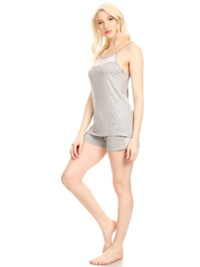 JVSET14S Womens Shorts Set Sleepwear Pajamas Woman Sleeveless Sleep Nightshirt Rose XL